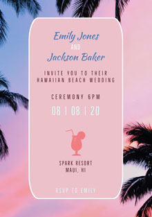 Pink and White Ceremony Invitation Wedding Invitation