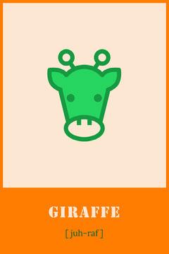 Orange Giraffe Animal Flashcard  Kids