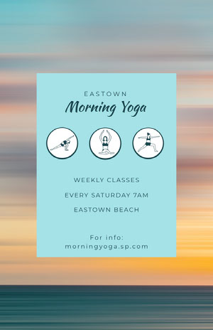 Blue With Sunrise Morning Yoga Flyer  Yoga Posters