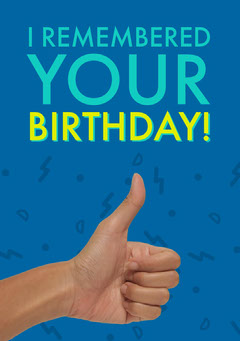 Blue Happy Birthday Card with Thumbs Up Birthday