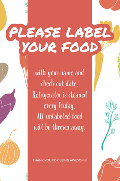 Colorful Illustrated Please Label Food Flyer Food Flyer