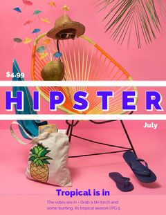 Pink Hipster Lifestyle Magazine Cover Fashion Magazines Cover