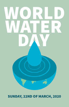 Blue and White World Water Day Poster Water