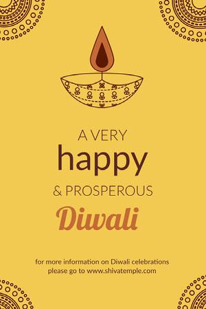 Yellow Illustrated Happy Hindu Diwali Festival Pinterest Graphic Diwali