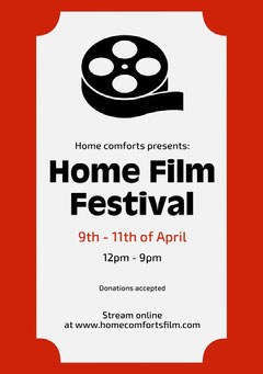 Red Film Festival Poster  Donations Flyer