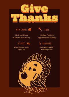 Brown and Yellow Thanksgiving Menu Flyer Thanksgiving Menu