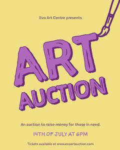 Yellow & Purple Art Auction Instagram Portrait Fundraiser