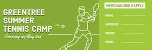 Green Illustrated Tennis Camp Raffle Ticket with Tennis Player Boleto de sorteo