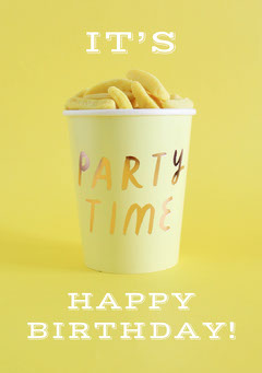 Yellow and White Happy Birthday Card Friends