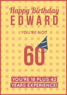Yellow Pattern Happy 60th Birthday Card Birthday Card