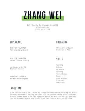 Zhang Wei Currículum moderno