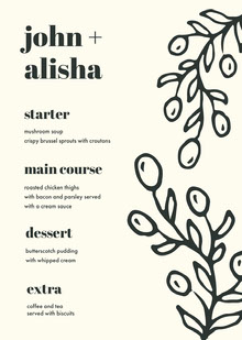 Black and White Wedding Menu 웨딩 메뉴판