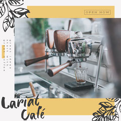 Yellow with sketched leaves Coffee Shop Instagram Square Cafe