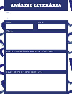 blue and white book review worksheet  Gabarito