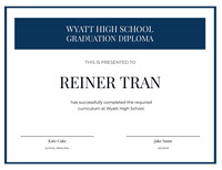 Blue and White High School Certificate Diploma