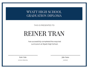 Blue and White High School Certificate Certificat