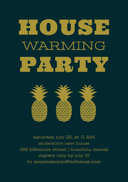 Gold and Black Housewarming Party Invitation Card with Pineapples Housewarming Invitation