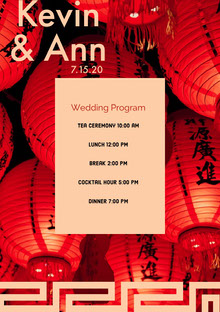 Red and Pink Wedding Ceremony Program Programa de bodas