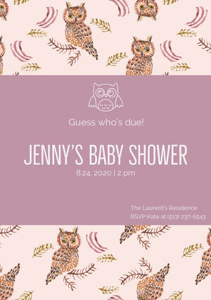Violet and Pink Baby Shower Invitation Pregnancy Announcement
