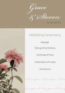 Grey and White Wedding Ceremony Program Programa de bodas