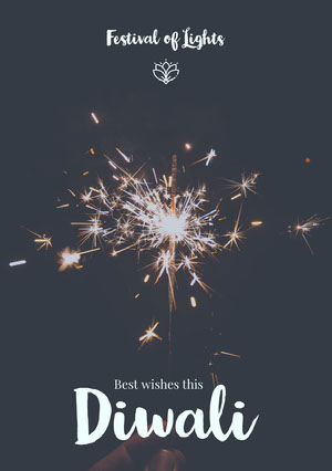 Black and White Happy Diwali Wishes Card Diwali