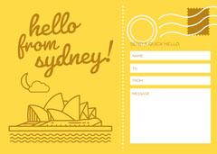 Sydney Postcard  Yellow