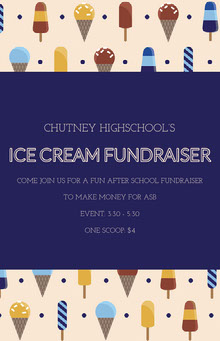 ICE CREAM FUNDRAISER School Posters