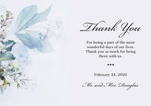 script floral wedding thank you card Bryllupstakkekort