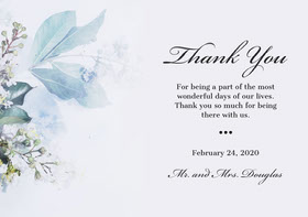 script floral wedding thank you card Thank You Card