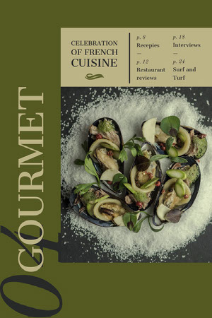 Green Gourmet French Cuisine Food Magazine Cover Magazin-Titelseite