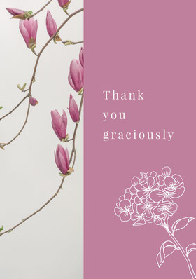 Grey and Violet Thank You Card Kiitoskortti