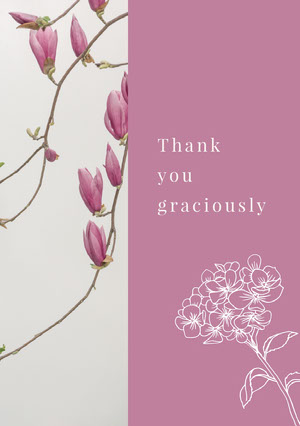 Grey and Violet Thank You Card Baptism Thank You Card