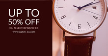 Brown and White Watches Sale Banner Portada de Facebook