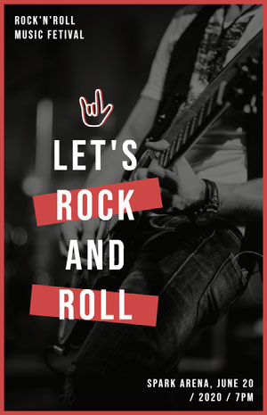 LET'S<BR>ROCK<BR>AND<BR>ROLL Poster di concerto