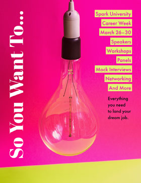 Pink and Yellow University Career Week Event Flyer with Light Bulb Flyer