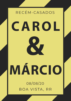 yellow and grey stripped wedding announcements  Anúncio de casamento