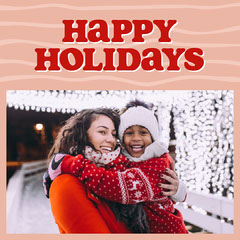 Pink and Red Happy Holidays Square Photo Card Christmas Party