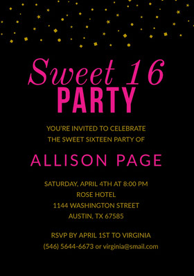 Pink Black and Gold Sweet Sixteen Birthday Invitation Card Convite de aniversário