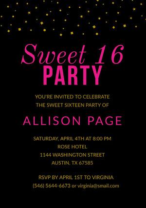 Pink Black and Gold Sweet Sixteen Birthday Invitation Card Sweet 16 Invitation