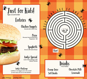 Orange Gingham Kids Menu Kids Menu