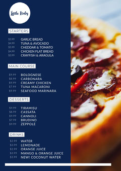 Blue With Pizza Photo Little Italy Menu Italy