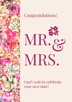 Pink Floral Wedding Congratulations Card Celebration