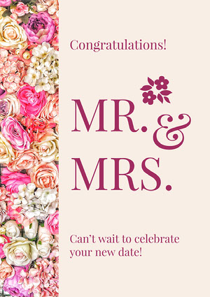 Pink Floral Wedding Congratulations Card Carte de félicitations