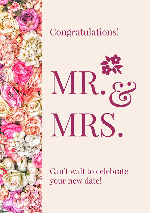 Pink Floral Wedding Congratulations Card Wedding Congratulations