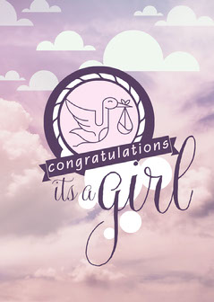 White and Purple Congratulations - Its a Girl Card Sky
