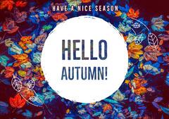 Multicolored Autumn Postcard  Autumn