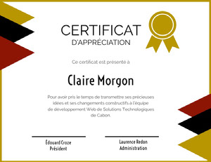 CERTIFICAT  Certificat