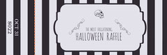 Black and White Stripes and Skull Halloween Party Raffle Ticket Halloween Raffle Ticket
