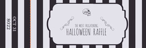 Black White Stripes Halloween Party Raffle Ticket Bilhete de sorteio