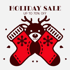 red and brown holiday sale instagram  Holiday Sale